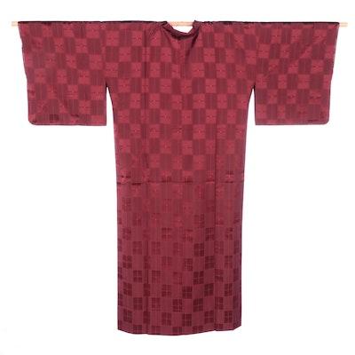 Japanese Burgundy Geometric Ama Raincoat, Shōwa Period