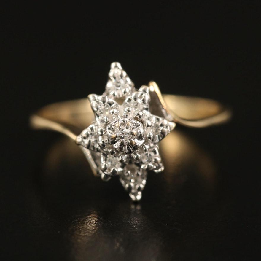10K Diamond Flower Bypass Ring