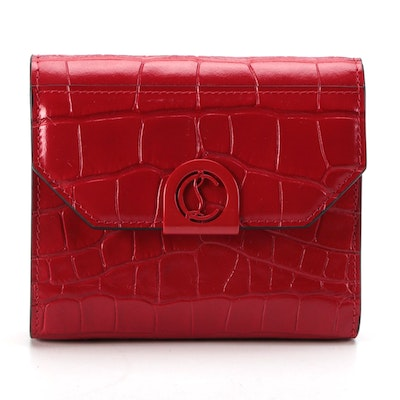 Christian Louboutin Elisa Compact Wallet in Red Croc-Embossed Leather
