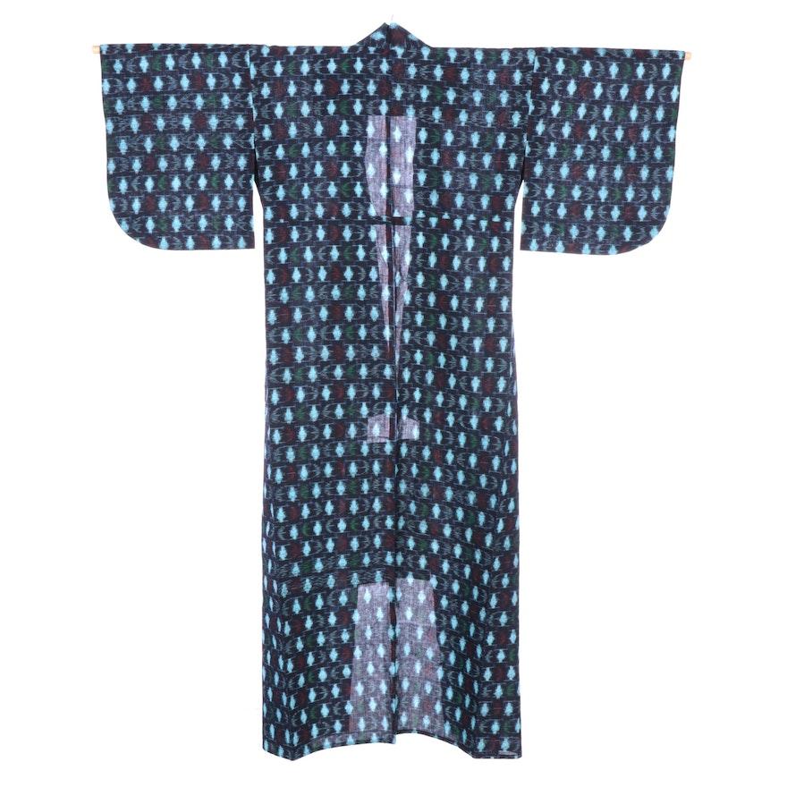 Ikate Tsumugi Komon Patterned Woven Kimono, Shōwa Period