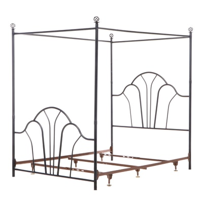 Art Deco Style Metal Queen Size Canopy Bed