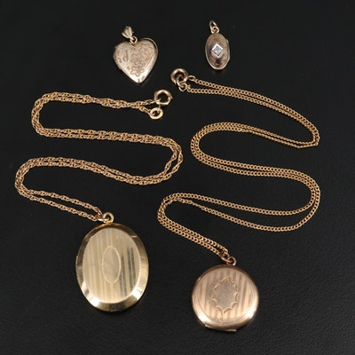 Vintage Le Stage Diamond Locket Pendant and Lockets Including Bates & Bacon