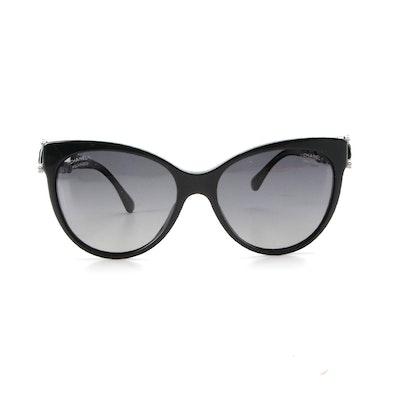 Chanel 5336HB Polarized Fantasy Pearl Bijou Black Cat Eye Sunglasses with Case