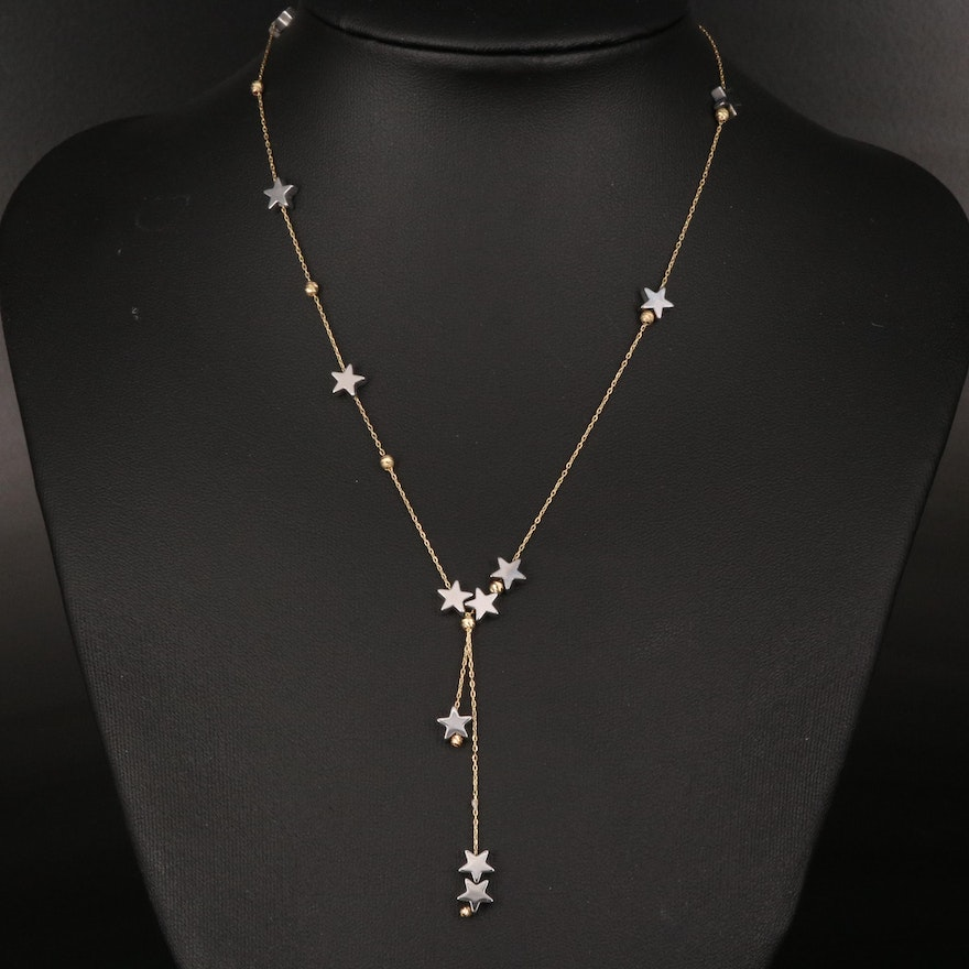 18K Hematite Star Station Y Necklace