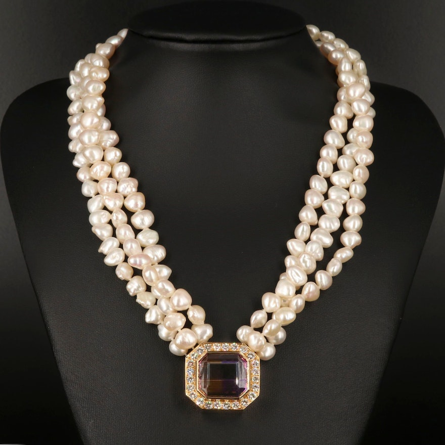 18K and 14K 21.09 CT Ametrine, Pearl and 2.30 CTW Diamond Triple Strand Necklace