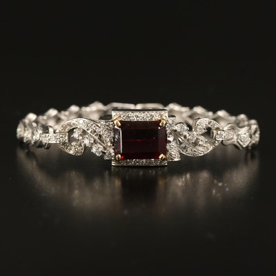 14K 6.00 CT Rubellite and 1.54 CTW Diamond Bracelet with GIA Report