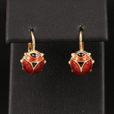 Italian 14K Enamel Ladybug Earrings