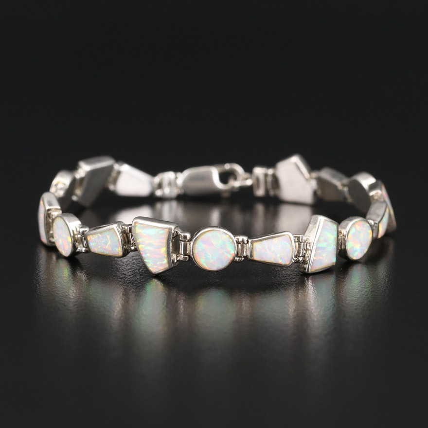 Sterling Silver Opal Link Bracelet