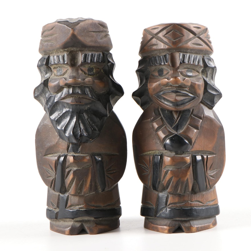 Artisan Carved Wooden Figurines of Two Men