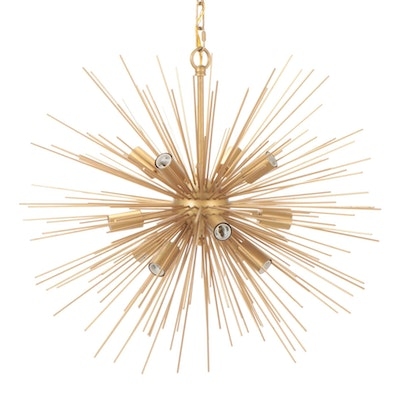 Mid-Century Modern Gilt Metal Sunburst Pendant Light