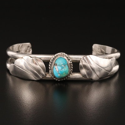 Andrew Saufkie Hopi Sterling Turquoise Cuff