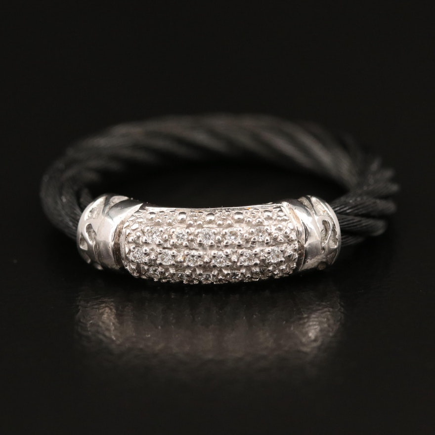 Charriol Stainless Steel 18K and Diamond Cable Ring