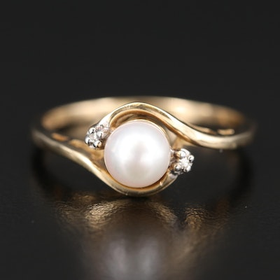 10K Pearl and Diamond Swirl Ring