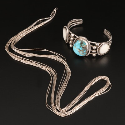 Southwestern Turquoise and Mother of Pearl Cuff with Liquid Silver Necklace