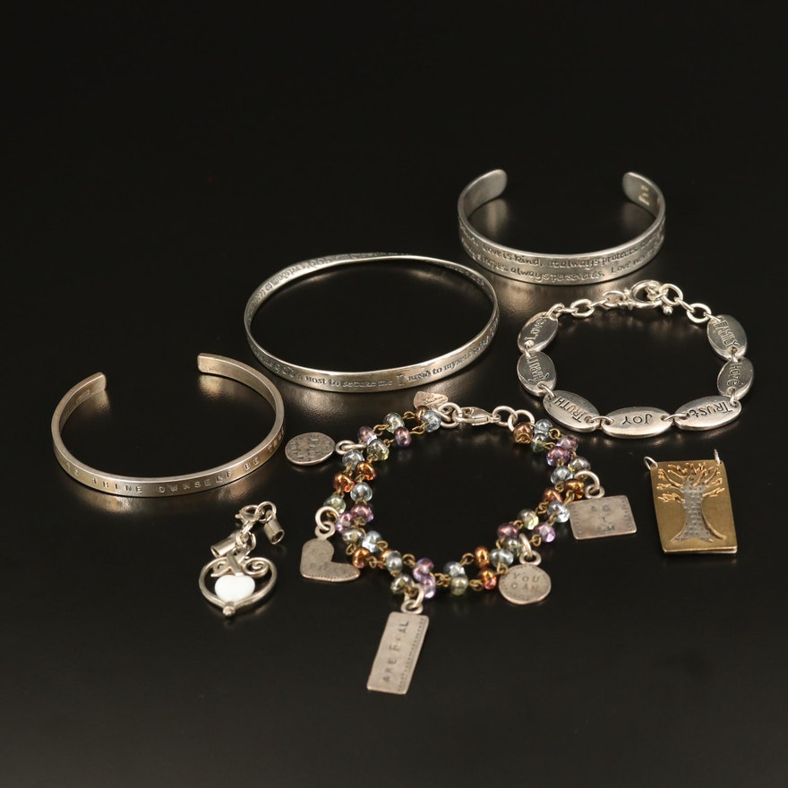 Sterling Silver Inspirational Bracelets Including Jezlaine and Pendants