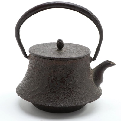 Japanese Cast Iron Tetsubin Tea Kettle with Horse and Mt. Fugi Relief