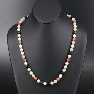 Multicolor Jadeite Beaded Necklace with 14K Clasp
