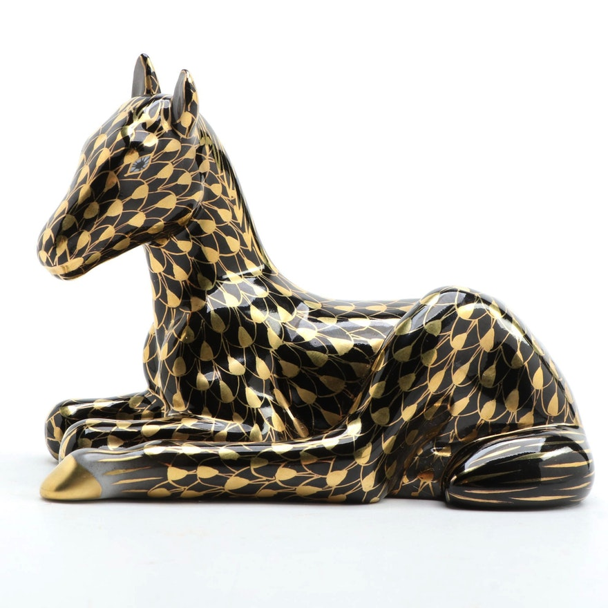 """Herend Gold Fishnet with Black """"Lying Foal"""" Porcelain Figurine"""
