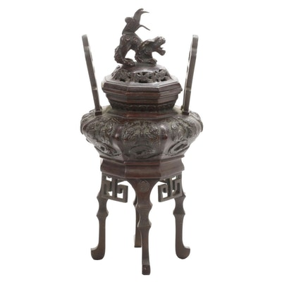 Chinese Bronze Footed Censer with Guardian Lion Finial