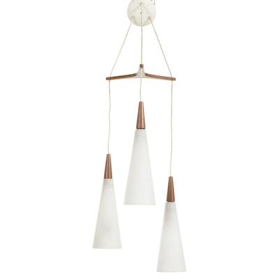 Danish Modern Hanging Pendant Atomic Three-Arm Light, Mid-20th Century