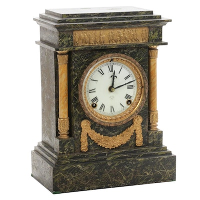 Ansonia Marblized Cast Iron Mantel Clock with Greek Frieze, Antique