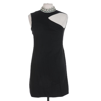Saks Fifth Avenue Beaded and Rhinestone Collar Black Wool Sleeveless Shift Dress