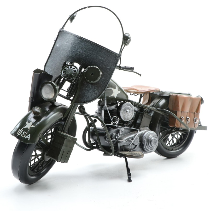 WWII Army Motorcycle Metal Replica