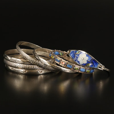 Textured, Inlay and Wire Bracelets Including Sterling Silver and Abalone