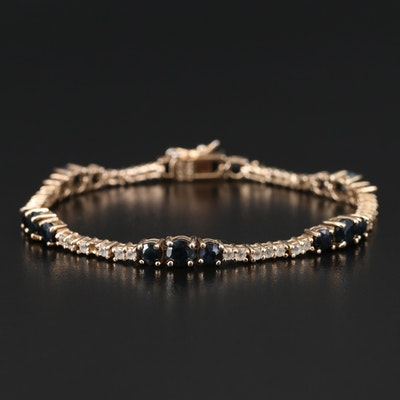 Sterling Sapphire and White Topaz Line Bracelet