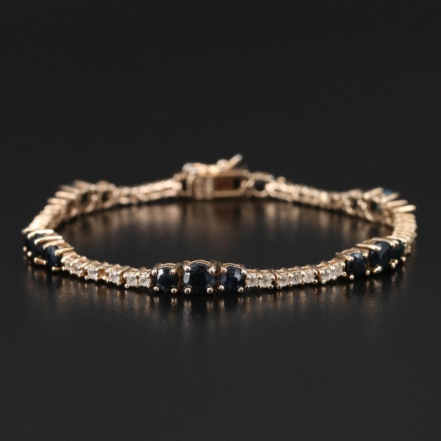 Sterling Sapphire and White Topaz Line Bracelet