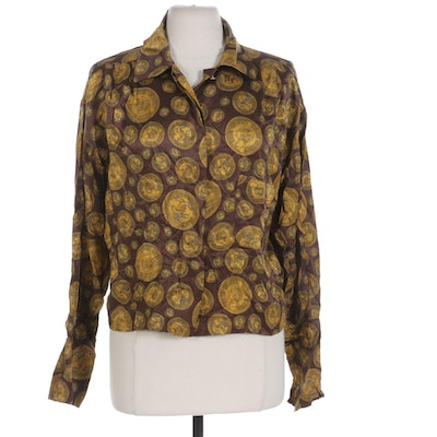 Chanel Boutique Silk Blouse in Button Medallion Print