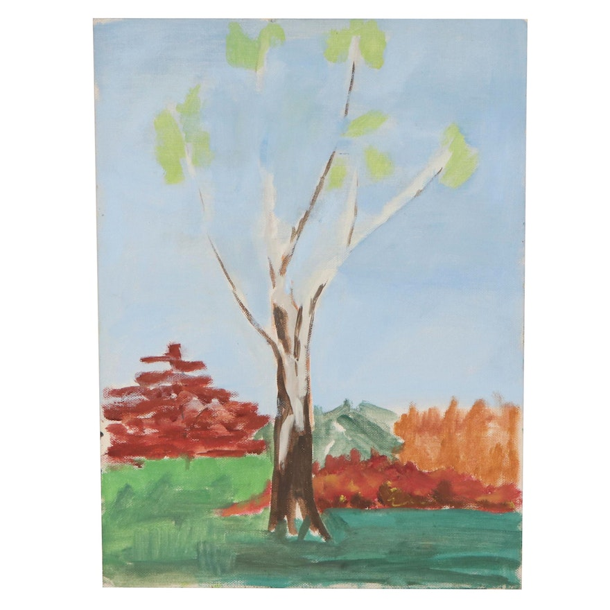 Acrylic Painting of an Autumn Landscape, Late 20th Century