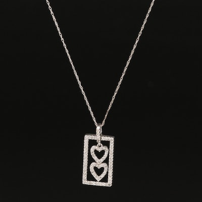 10K Diamond Double Heart Pendant Necklace