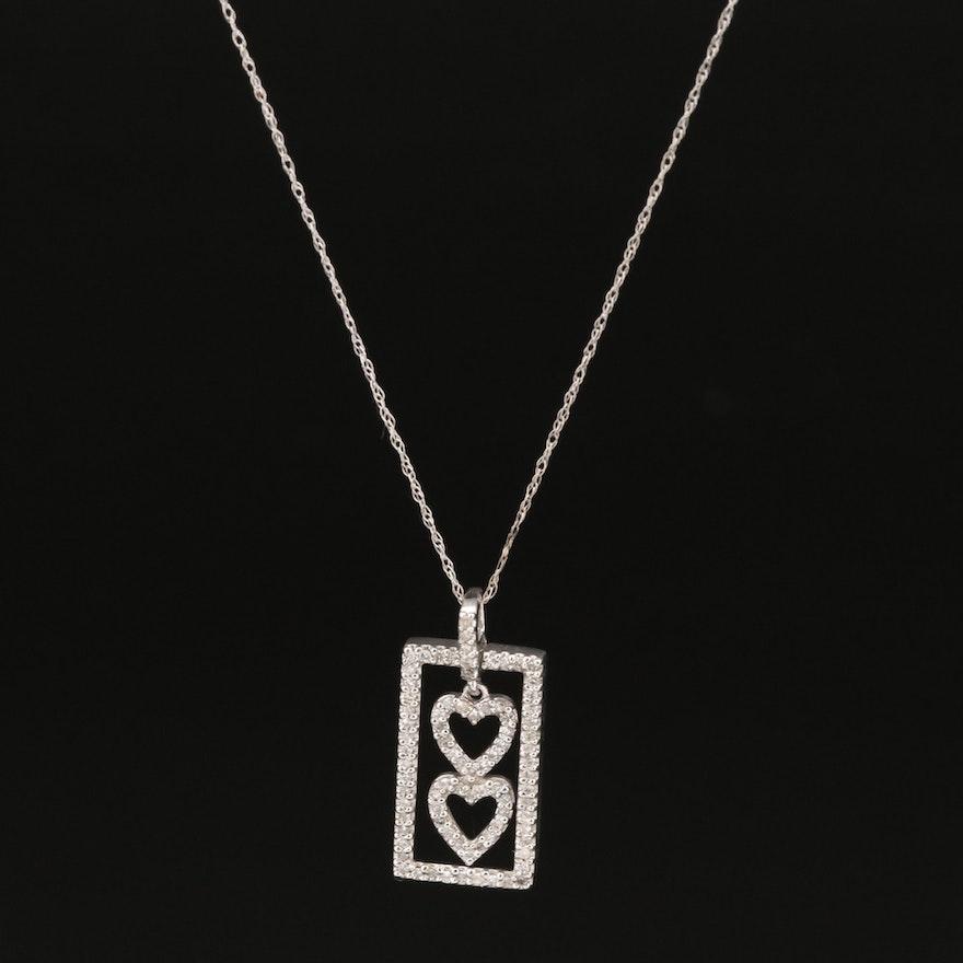 10K Diamond Double Heart Pendant Necklace