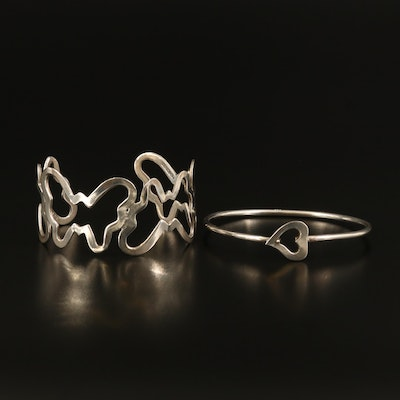 Mexican Sterling Butterfly Cuff with Heart Bangle
