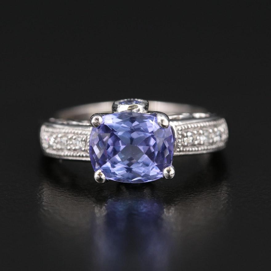 14K Tanzanite and Diamond Ring with Milgrain Details
