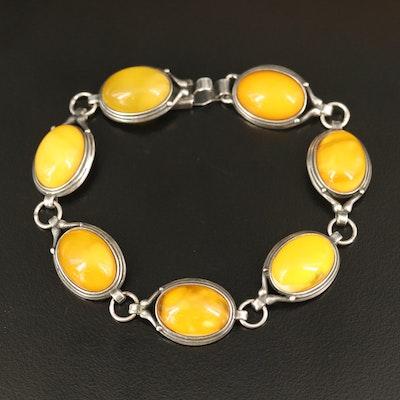 Sterling Amber Oval Link Bracelet