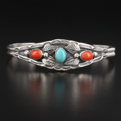 Irene Tsosie Navajo Diné Sterling Turquoise and Coral Cuff