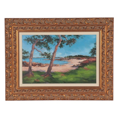 "Elisabeth Bazin Acrylic Painting ""Crique Bretonne"""