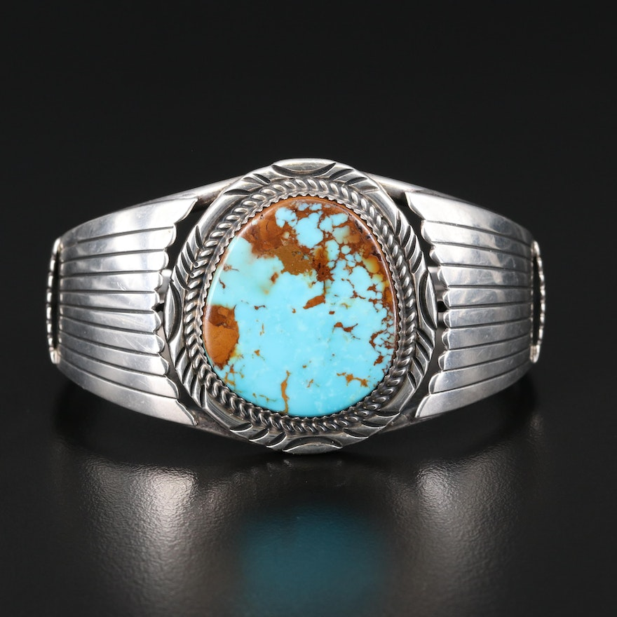 Will Denetdale Navajo Diné Sterling Turquoise Cuff