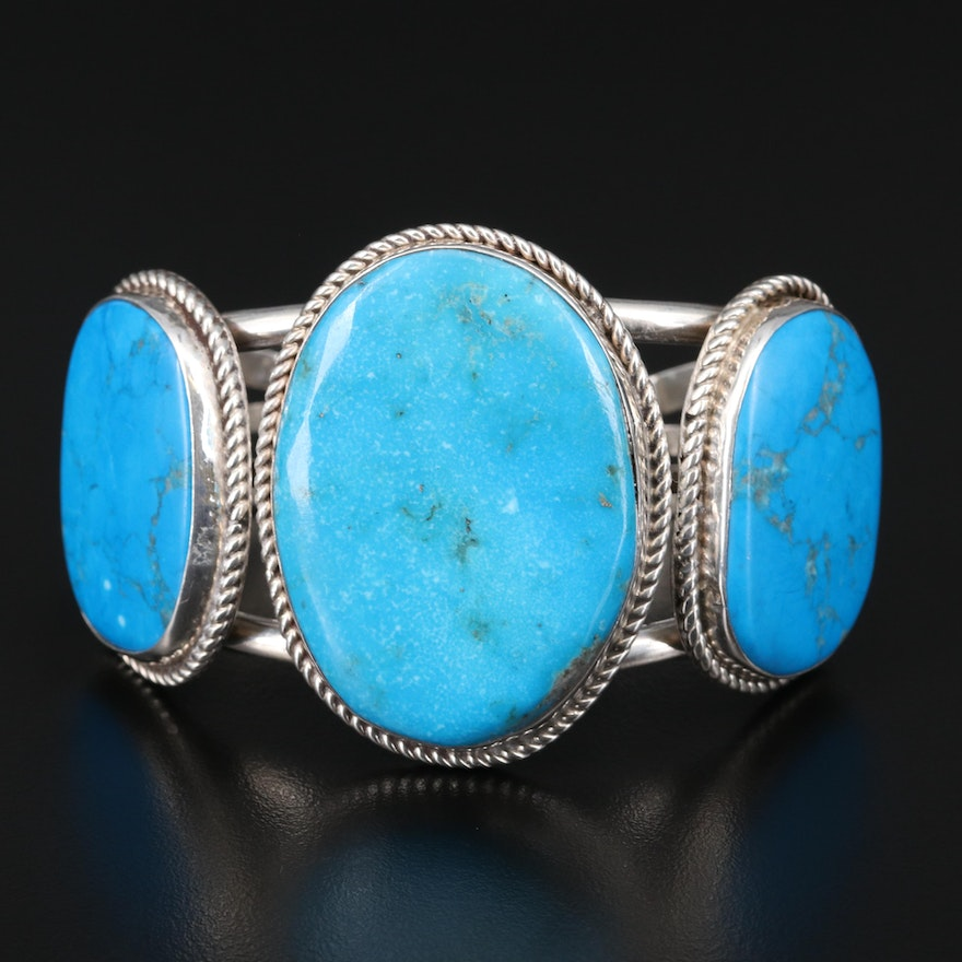 William Singer Navajo Diné Sterling Turquoise and Magnesite Cuff with Rope Edges