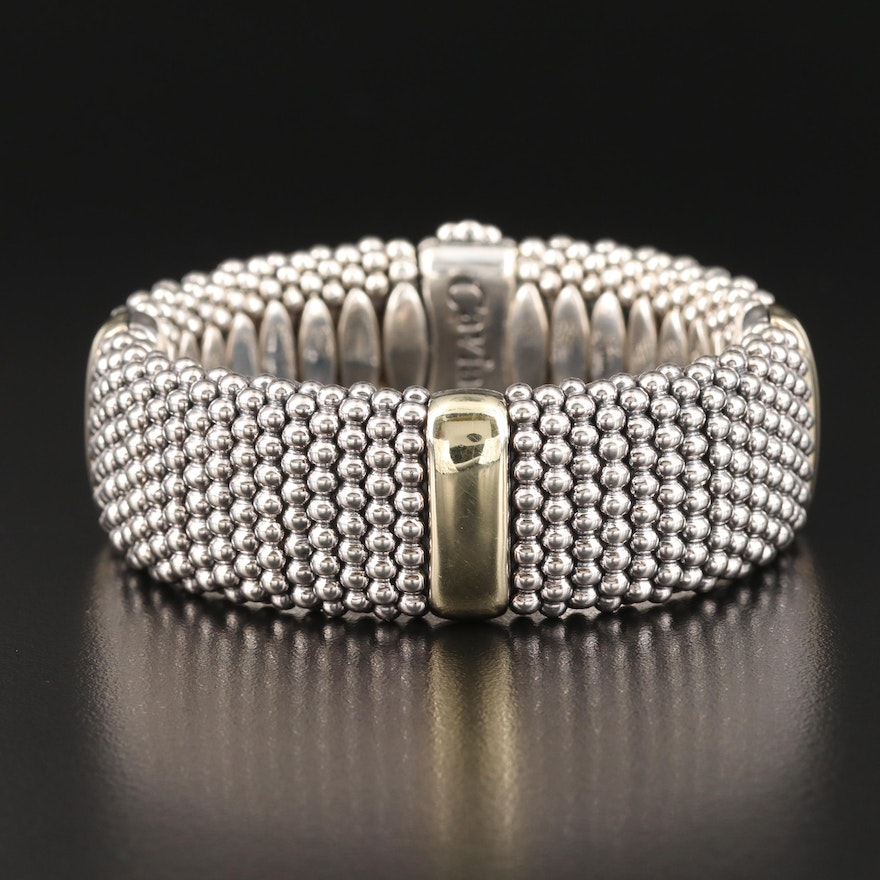 Caviar by Lagos Sterling Bracelet with 18K Accents and Pouch