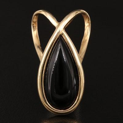 14K Black Onyx Slide Pendant