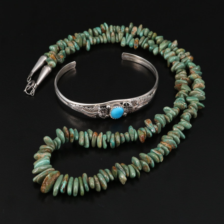 Southwestern Turquoise Cuff and Carolyn Pollack for Relios Turquoise Necklace