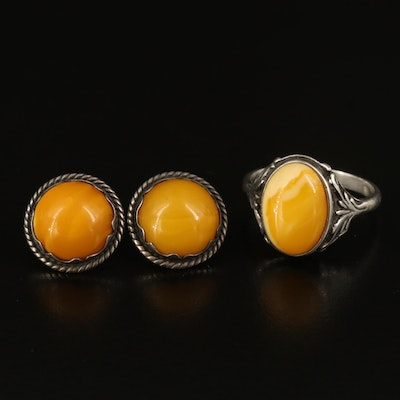 Sterling Amber Foliate Ring and Rope Earrings