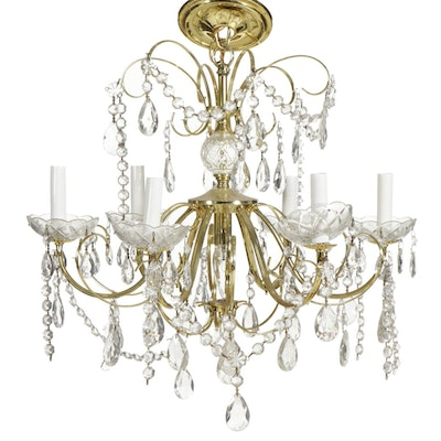 Schonbek Hollywood Regency Lacquered Brass and Glass Chandelier, Mid/Late 20th C