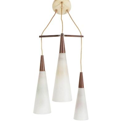 Danish Modern Three-Bulb Hanging Pendant Light, Mid-20th Century
