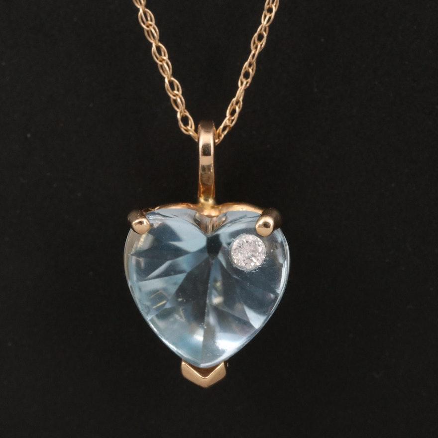14K Topaz and Diamond Necklace