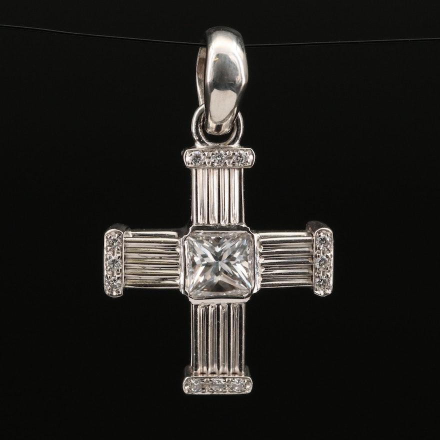 Italian Di Modolo 18K Gold Diamond Cross Pendant