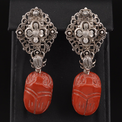Stephen Dweck Vintage Sterling Jasper Scarab Earrings